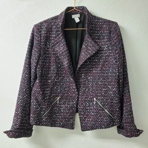 CHICOS | Black Purple Tweed Blazer Jacket 1